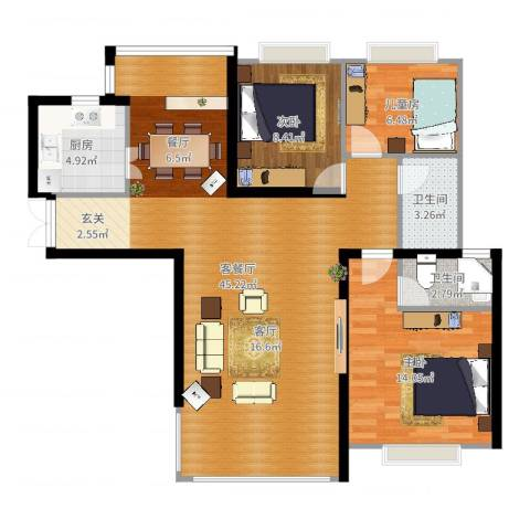康城上品3室2厅2卫1厨106.00㎡户型图