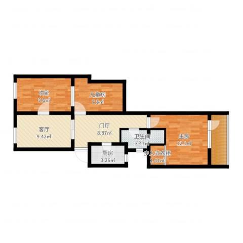 东厂胡同14号楼3室1厅1卫1厨75.00㎡户型图