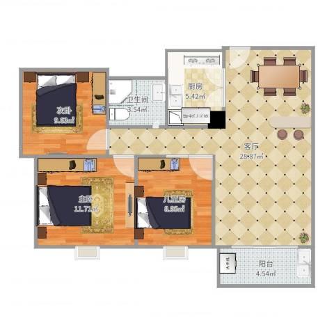 聚星国际城3室1厅1卫1厨91.00㎡户型图