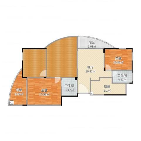 星星港湾春江苑3室1厅2卫1厨144.00㎡户型图