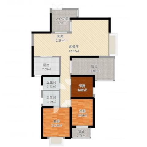 海滨东区3室2厅2卫1厨135.00㎡户型图