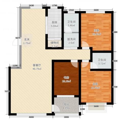 富嘉・凤凰花园3室2厅2卫1厨138.00㎡户型图