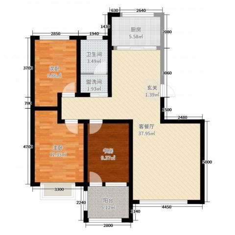 富嘉・凤凰花园3室2厅1卫1厨118.00㎡户型图