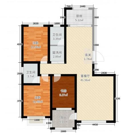 富嘉・凤凰花园3室2厅2卫1厨130.00㎡户型图