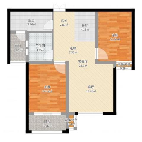 揽盛・金广厦2室2厅1卫1厨87.00㎡户型图