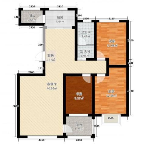 富嘉・凤凰花园3室2厅1卫1厨128.00㎡户型图