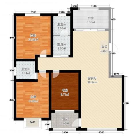 富嘉・凤凰花园3室2厅2卫1厨128.00㎡户型图