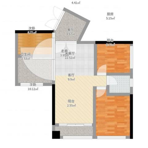 龙华花半里2室2厅1卫1厨75.00㎡户型图