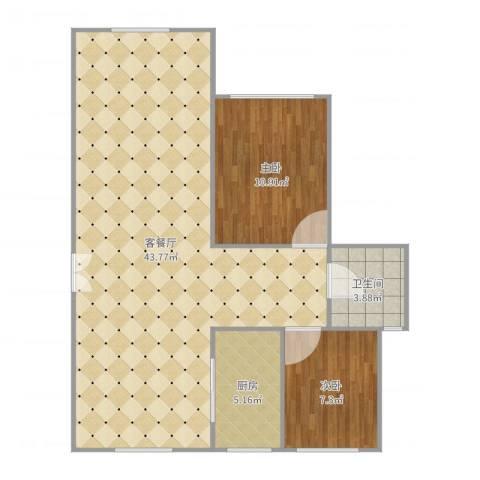 大观名园2室2厅1卫1厨89.00㎡户型图