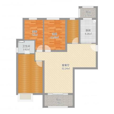 碧桂园凤凰城2室2厅1卫1厨112.00㎡户型图