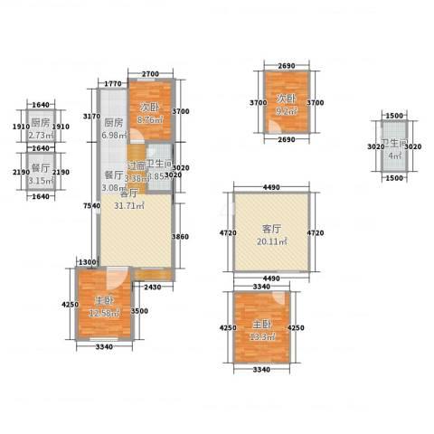 南郡水云天3号4室3厅2卫1厨138.00㎡户型图