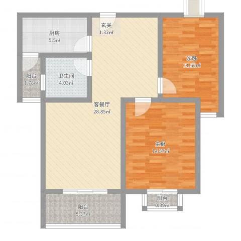 港汇花园2室2厅1卫1厨91.00㎡户型图