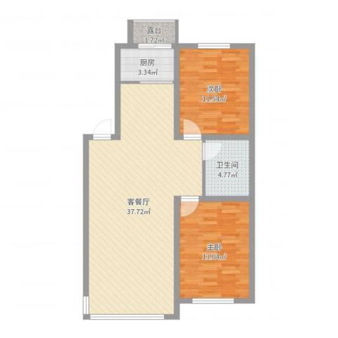 浅草绿阁2室2厅1卫1厨90.00㎡户型图