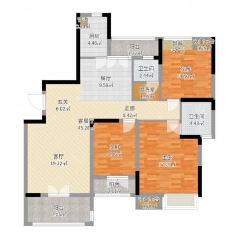 锑都家园3室2厅2卫1厨138.00㎡户型图