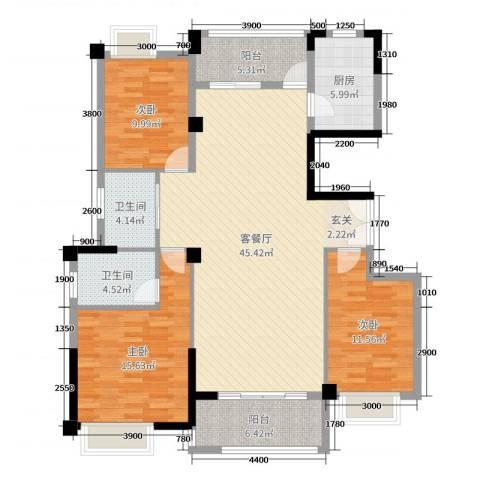 金龙华侨城3室2厅2卫1厨139.00㎡户型图