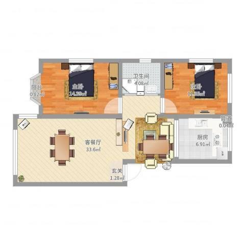 月潭壹英里2室2厅1卫1厨88.00㎡户型图