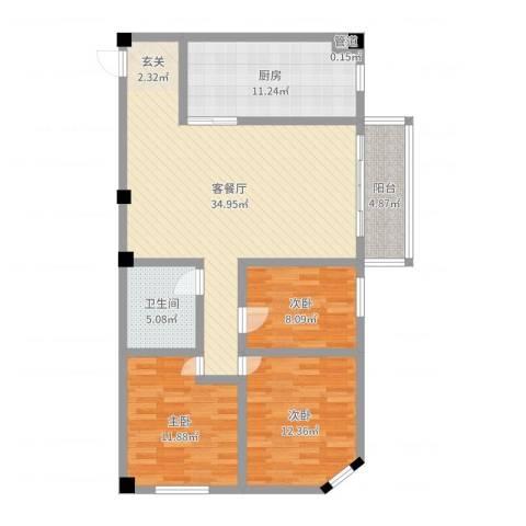 SOLO自由城3室2厅1卫1厨111.00㎡户型图