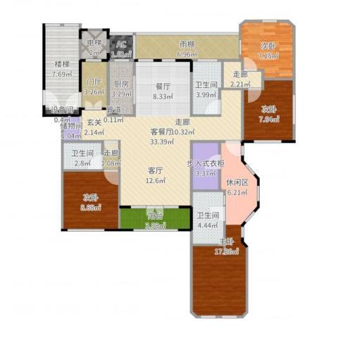 紫竹半岛4室2厅3卫1厨153.00㎡户型图