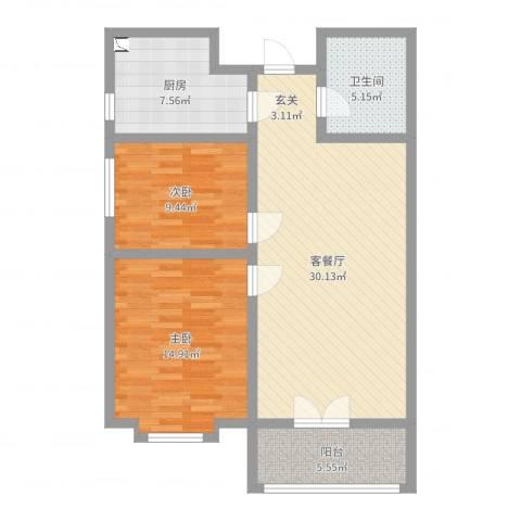 玉门河小区2室2厅1卫1厨91.00㎡户型图