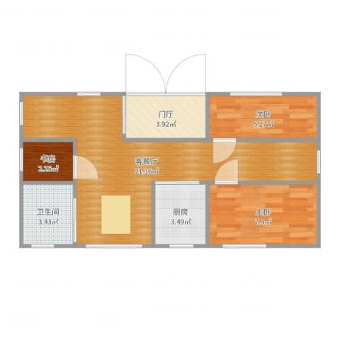 泰达清新园3室2厅1卫1厨59.00㎡户型图