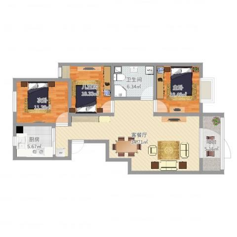长治市丽景苑3室2厅1卫1厨105.00㎡户型图