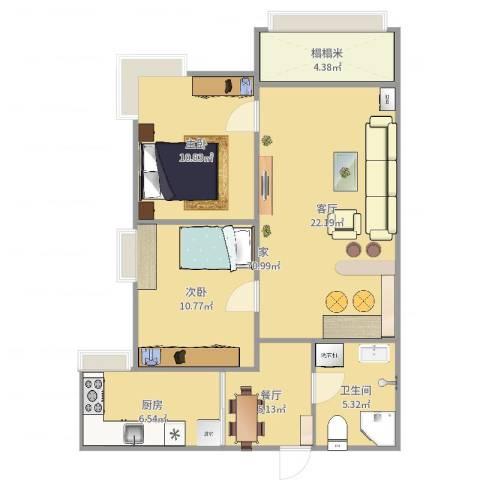 明湖花园2室2厅1卫1厨81.00㎡户型图