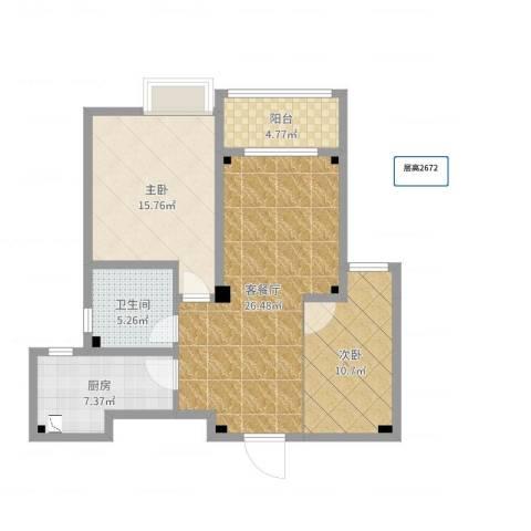 学府壹号2室2厅1卫1厨87.00㎡户型图