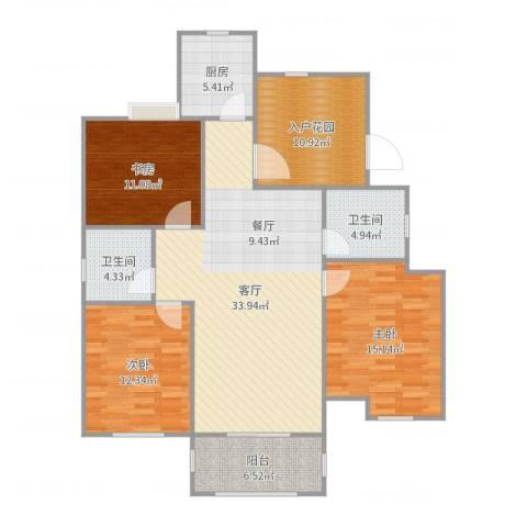 冠达豪景东苑3室1厅2卫1厨131.00㎡户型图