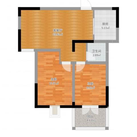 康城静林湾2室2厅1卫1厨74.00㎡户型图