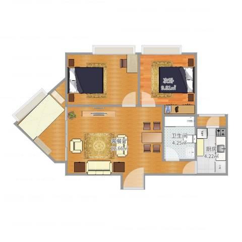 广发花园H房1室2厅1卫1厨75.00㎡户型图