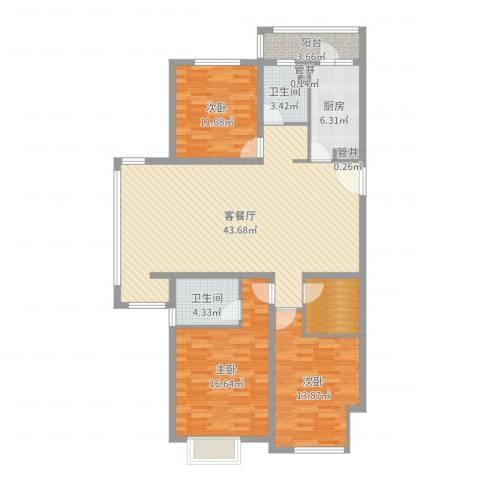 鹏欣・水游城3室2厅2卫1厨135.00㎡户型图