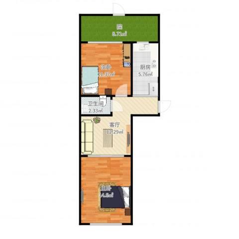 市政里1-3-1012室1厅1卫1厨69.00㎡户型图