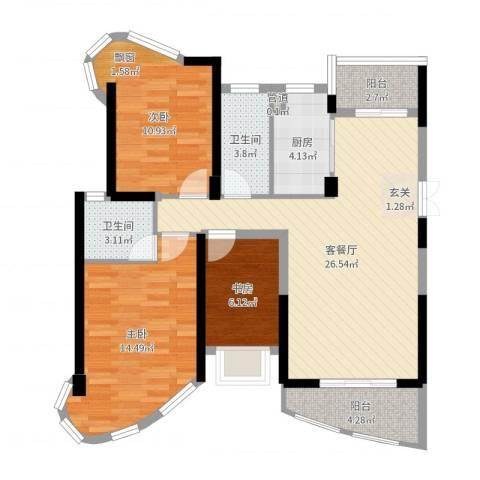 南昌铜锣湾广场3室2厅3卫1厨95.00㎡户型图