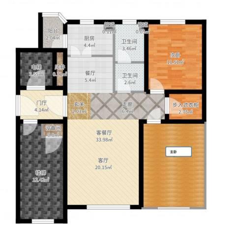世福佳苑・碧春园1室2厅2卫1厨124.00㎡户型图