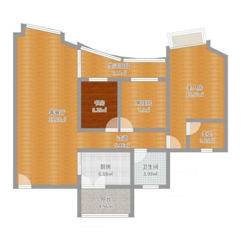 盛和花园1室2厅1卫1厨117.00㎡户型图