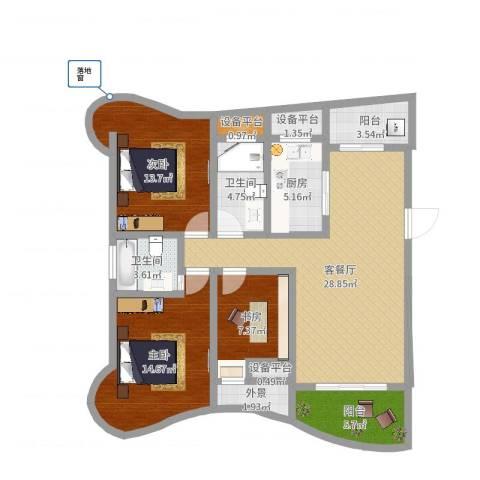 南昌铜锣湾广场3室2厅2卫1厨115.00㎡户型图