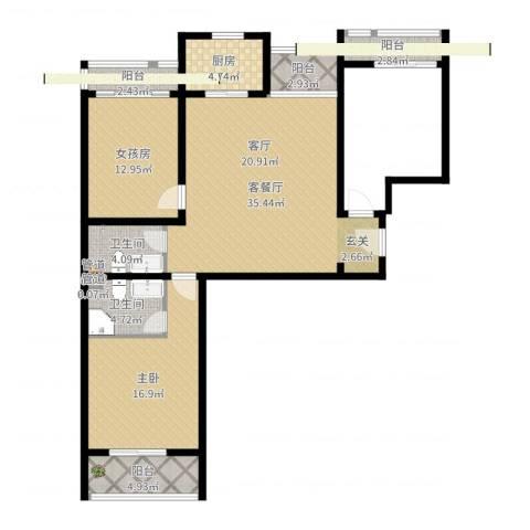 丽水苑1室2厅2卫1厨115.00㎡户型图