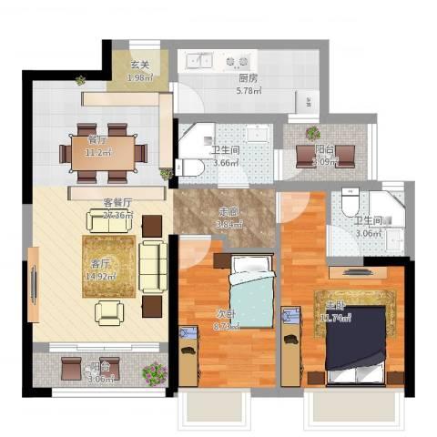 御东雅苑2室2厅2卫1厨83.00㎡户型图