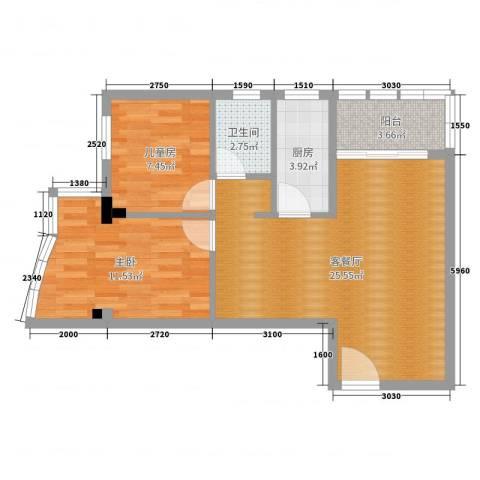 晓燕湾2室2厅1卫1厨69.00㎡户型图