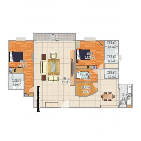 景观花园3室1厅4卫1厨205.00㎡户型图