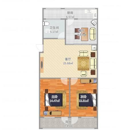 葡萄园小区2室2厅1卫1厨103.00㎡户型图