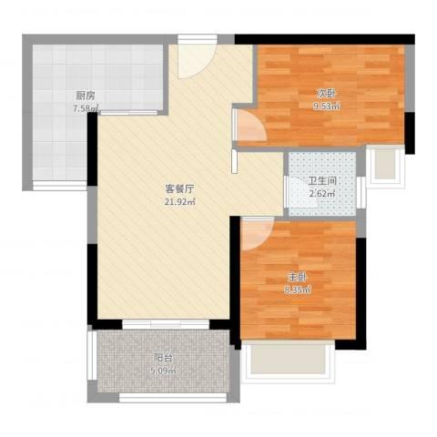 港湾江城2室2厅1卫1厨69.00㎡户型图