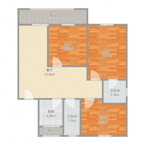 嘉泰花园公寓3室1厅2卫1厨96.00㎡户型图