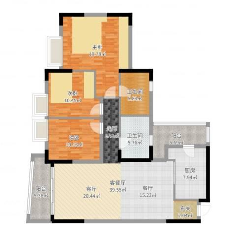银信花园3室2厅2卫1厨138.00㎡户型图