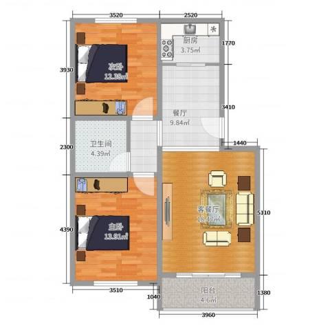东泰和苑小区2室3厅1卫1厨84.00㎡户型图