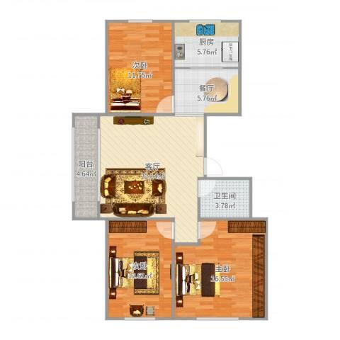 富力城3室2厅1卫1厨104.00㎡户型图