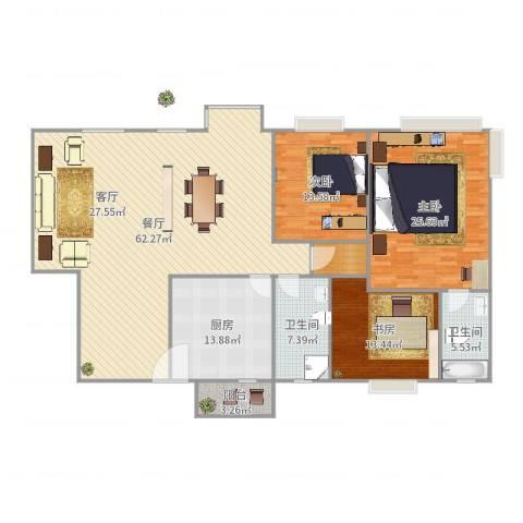 东骏豪苑3室1厅2卫1厨184.00㎡户型图