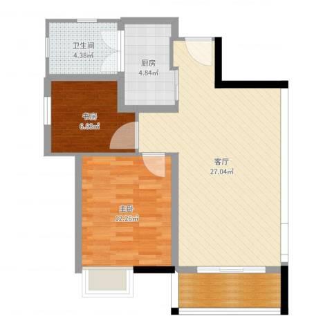 万科城新里程2室1厅1卫1厨75.00㎡户型图