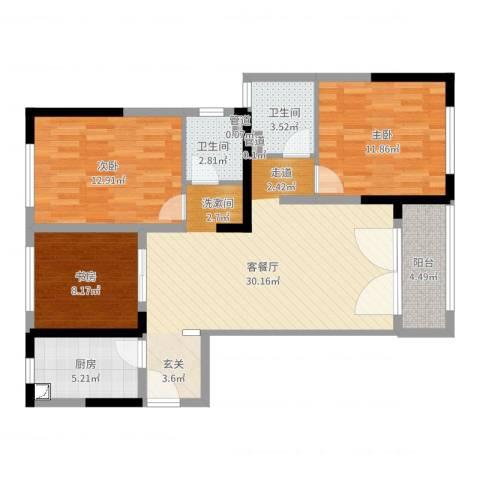 绿地新都会3室2厅2卫1厨99.00㎡户型图