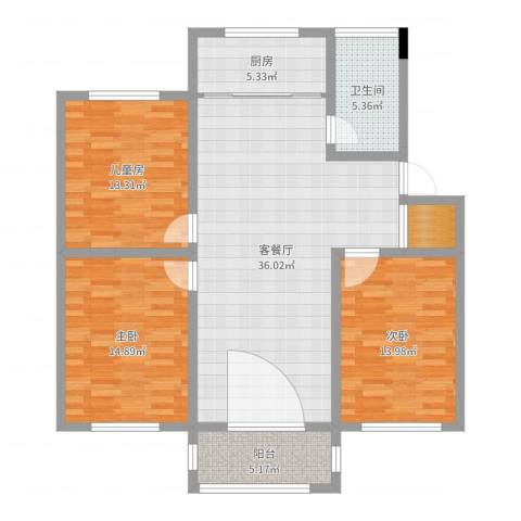 联谊花园3室2厅1卫1厨119.00㎡户型图
